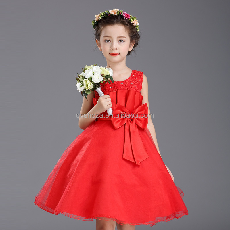 92578A 2017 Wholesale New Styles Flower Girl Dress Children Frock Designs Party Wear Red Dress