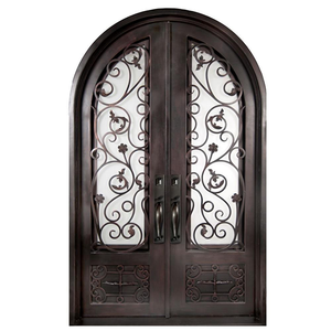 Safety Metal Wrought Iron Front Double Door Designs Exterior With Black Color