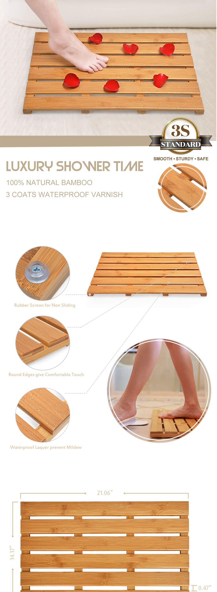 High Quality Bamboo Waterproof Bath Mat