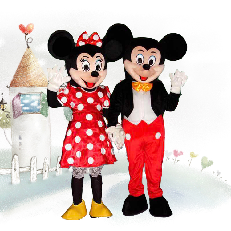 Adult Cartoon mickey & minnie real life size mascot cosplay costumes
