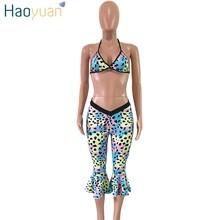 HAOYUAN, разноцветный Леопардовый сексуальный комплект из двух предметов, летняя пляжная одежда, укороченный топ и облегающие штаны с оборками...(Китай)