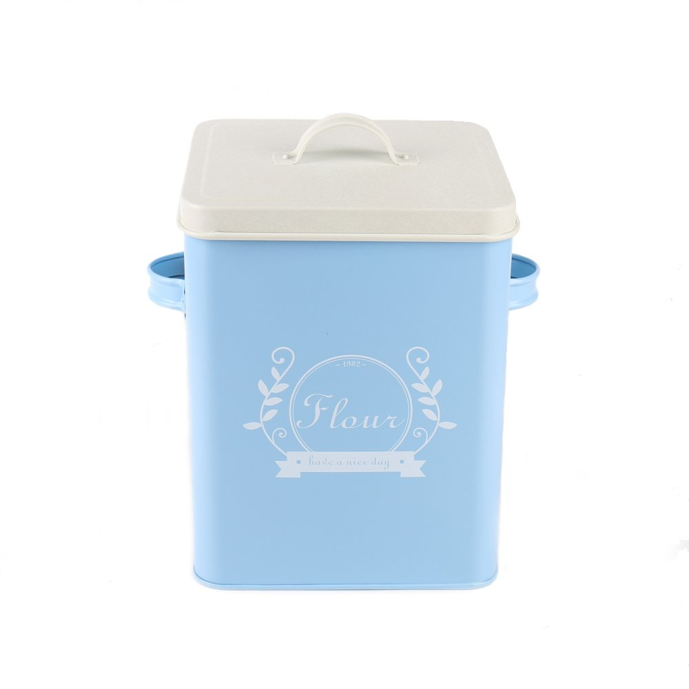 Hot Sale H102 Square Metal Food/Flour/Sundries Kitchen Storage Tin Canister/Bucket/Containers with Lid And Scoop (blue)