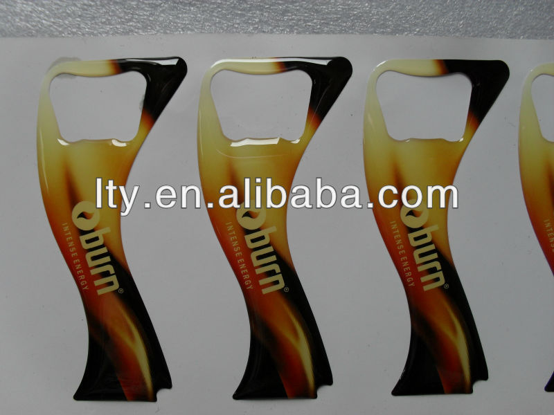 die cut beer bottle opener epoxy sticker (M-EP083)