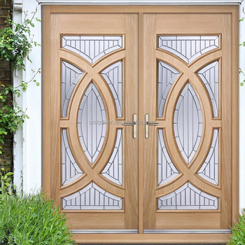 OAK DOUBLE DOOR LEAF WOODEN ENTRY DOOR WITH FRAME SET AND ZINC CLEAR TRI  GLAZING