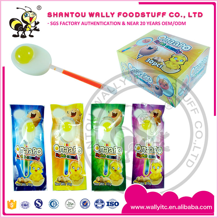 NEW Egg Shape Lollipop With Lighting Stick Luminous Candy