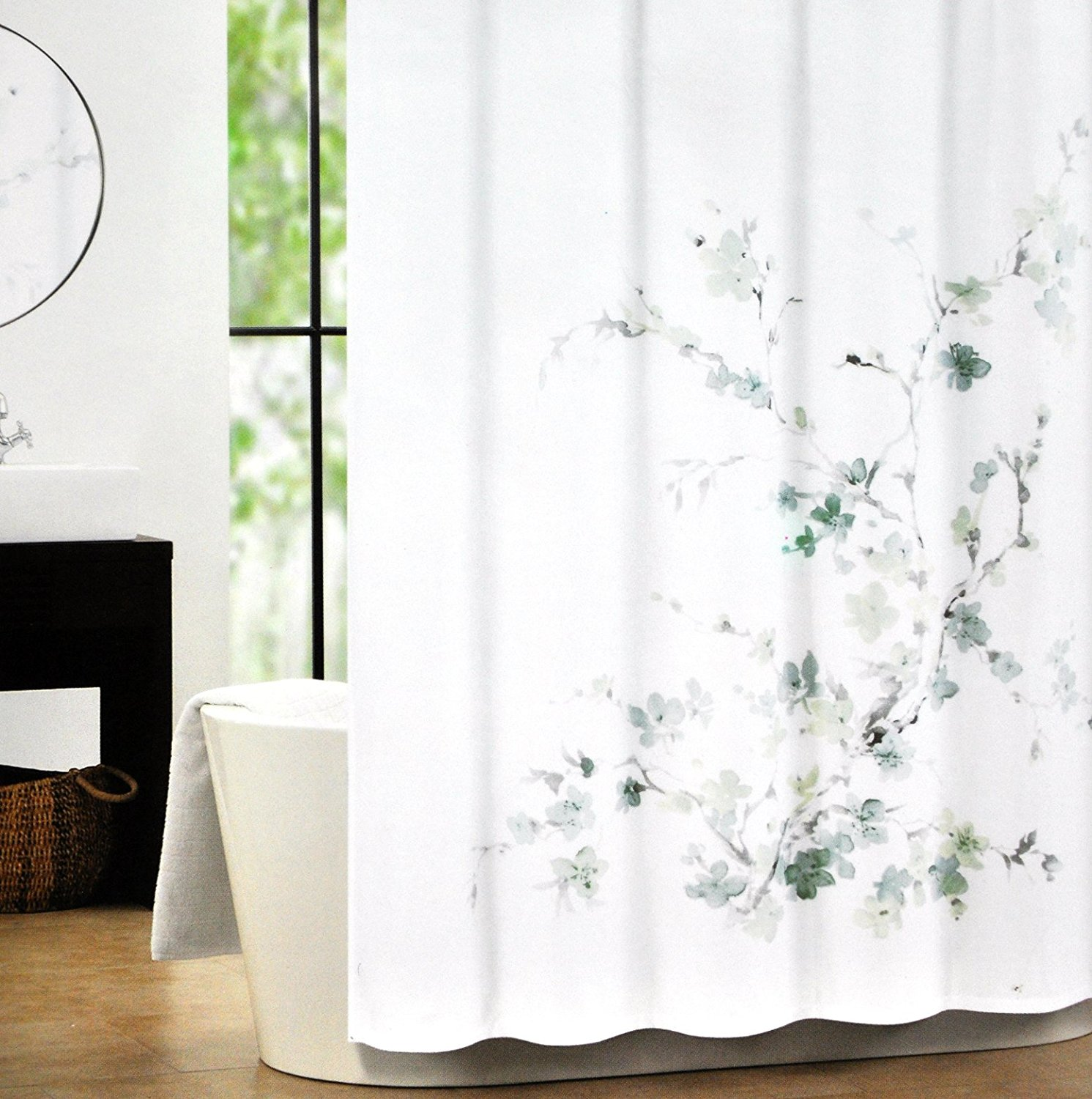 Get Quotations Tahari Luxury Cotton Blend Shower Curtain Printemps Gray Aqua Sage Floral Branches By Home