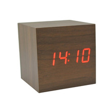 Wood Clock LED Digital Cube LED Digital Alarm Clock Square Modern Wood Clock Thermometer Temp Date Display Calendars Desk