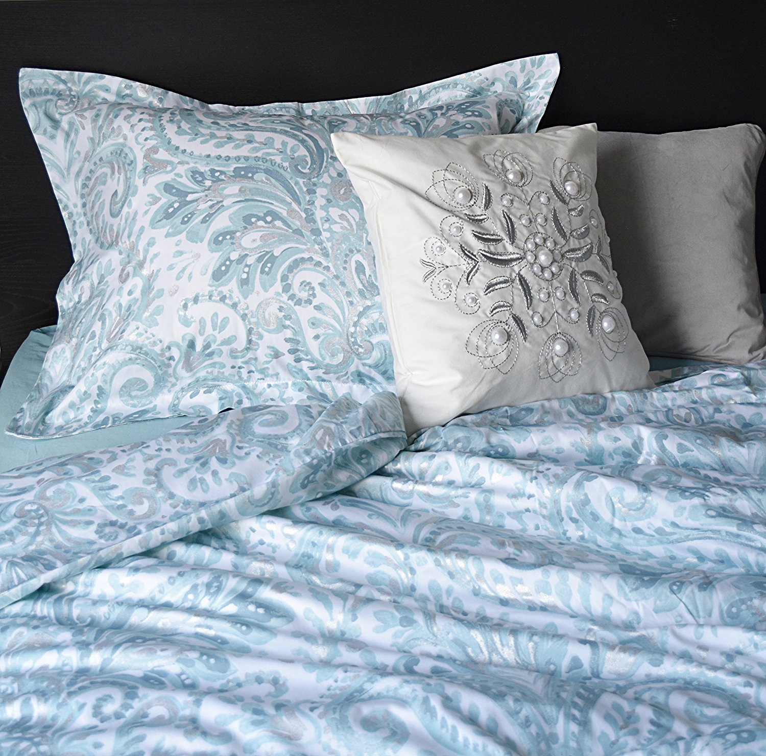 Tahari Home Turquoise Pascal Aquarelle Paisley 3pc Duvet Cover Set Moroccan Medallion Teal Aqua Grey Silver Boho Chic Bothe Style Bohemian 300TC (Queen)