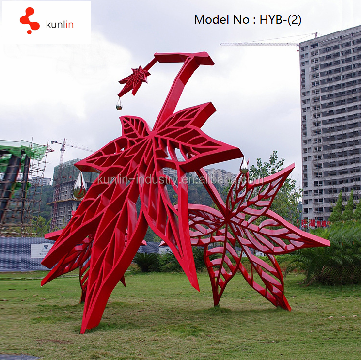 Garden decoration red maple leaf stainless steel sculpture