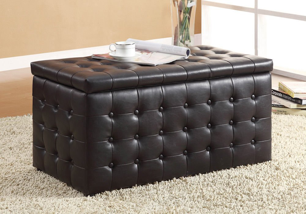 1PerfectChoice Rectangular Lift-Top Storage Bench w/ Small Ottomans Black Tufted PU Leather