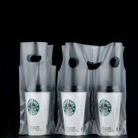 Customized transparent disposable take away coffee drink double cup holder packaging carry plastic bags