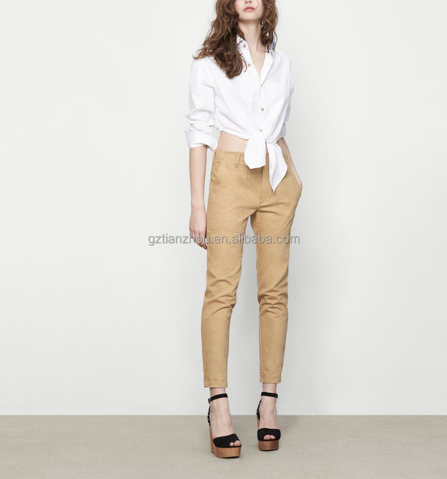 China suppliers godd price clothing OEM wholesale Natural canvas large cargo pockets elasticated waist trousers for women