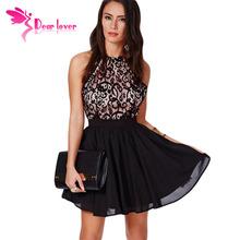Summer Women vestidos femininos 2015 Sexy Sleeveless Chiffon Prom Black Cross Back Lace Detail Party Skater Mini Dress  LC21573