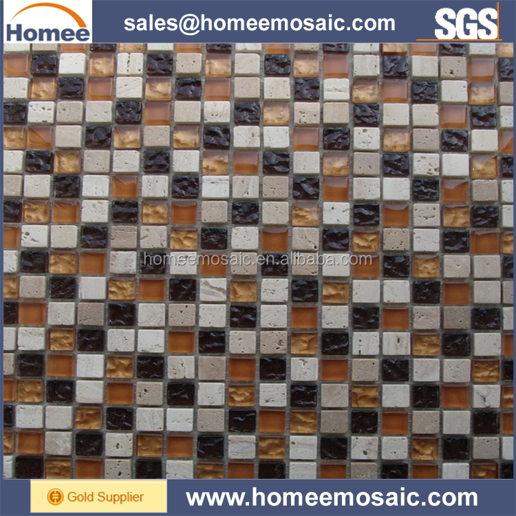 15x15MM wholesalers Glass Mix Marble stone Mosaic Tile