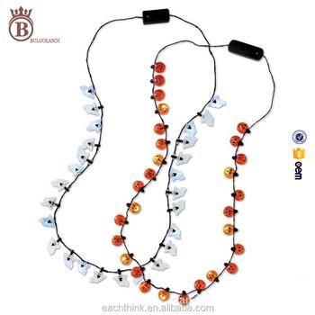 christmas halloween led lighted up pumpkin ghost plastic toy necklace - Lighted Christmas Necklace