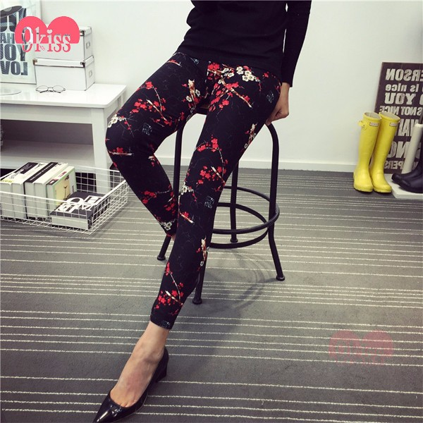 In Stock Fashionable Floral Milky Silk Soft 3d Leggings Ladies