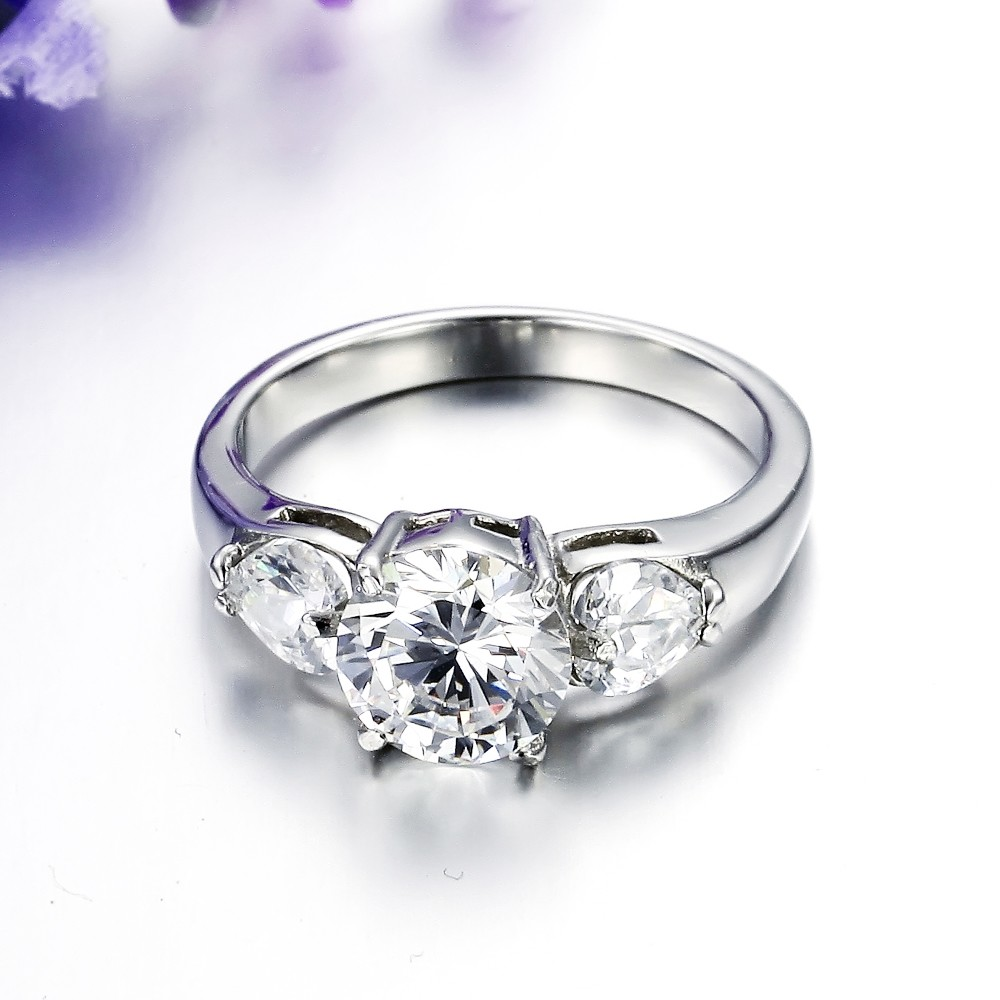 Wholesale Fashion Woemn Zircon Wedding Engagement Silver Jewelry Ring
