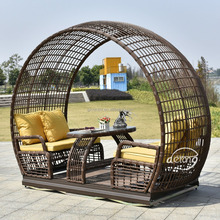 PE rotan terrasmeubilair donkerbruin outdoor waterdichte 4 zetels swing stoel thuis tuin swing leisure <span class=keywords><strong>wip</strong></span>