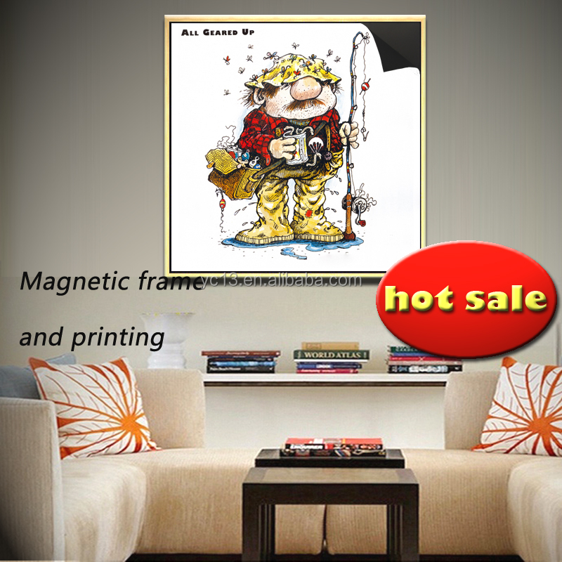 easy updating art frame & print magnetic painting crazy fisherman 1013-140