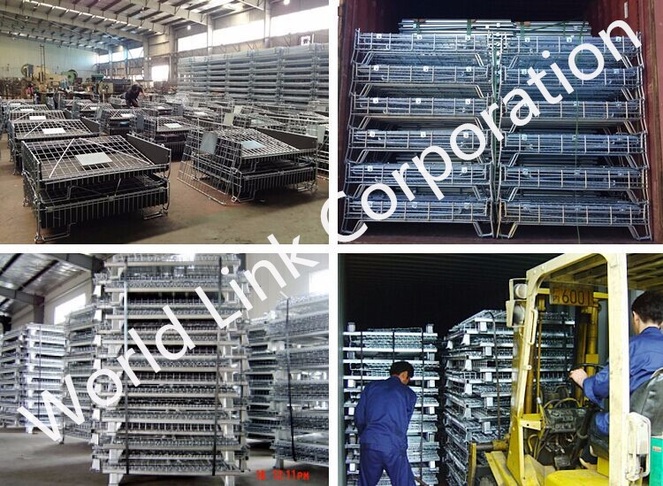 Rolling wheels pallet cage steel wire container