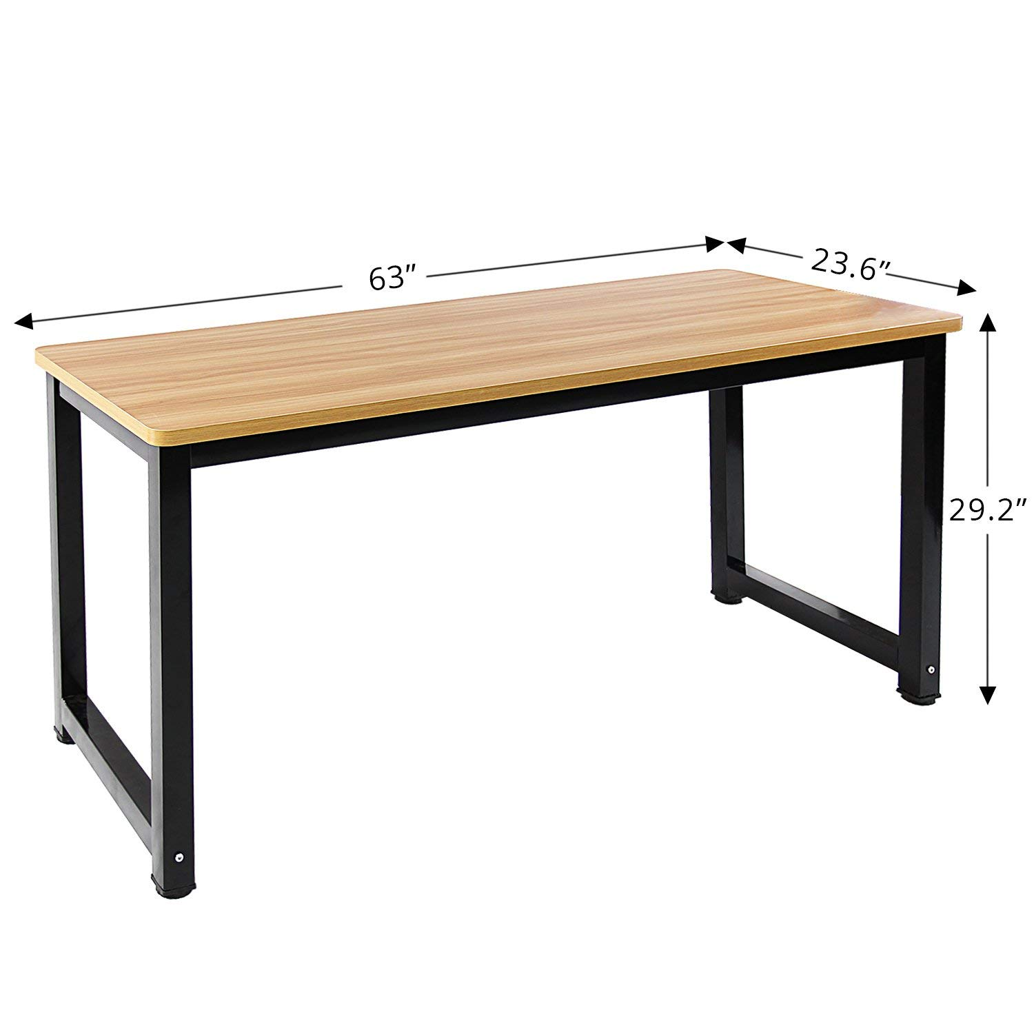 Jerry & Maggie - Professional Office Desk Wood & Steel Table Modern Plain Lap Desk with Rectangular Legs Computer Desk Personal Working Space - Natural Wood Tone | Thick Desktop Length 63""