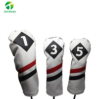 Golf Headcovers White Red and Black Vintage Leather Style 1 3 5 Driver and Fairway Head Covers Fits 460cc Drivers