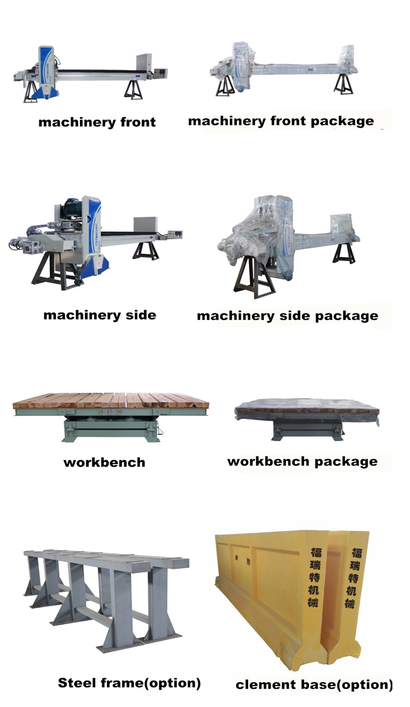 export frt600 marble and granite bridge saw cement frame plc programmable control system stone cutter block position worktable