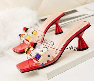 Woman Sandal Comfortable Transparent PVC upper peep toe crystal Transparent High Heel Women Lady Sandals Clean material women