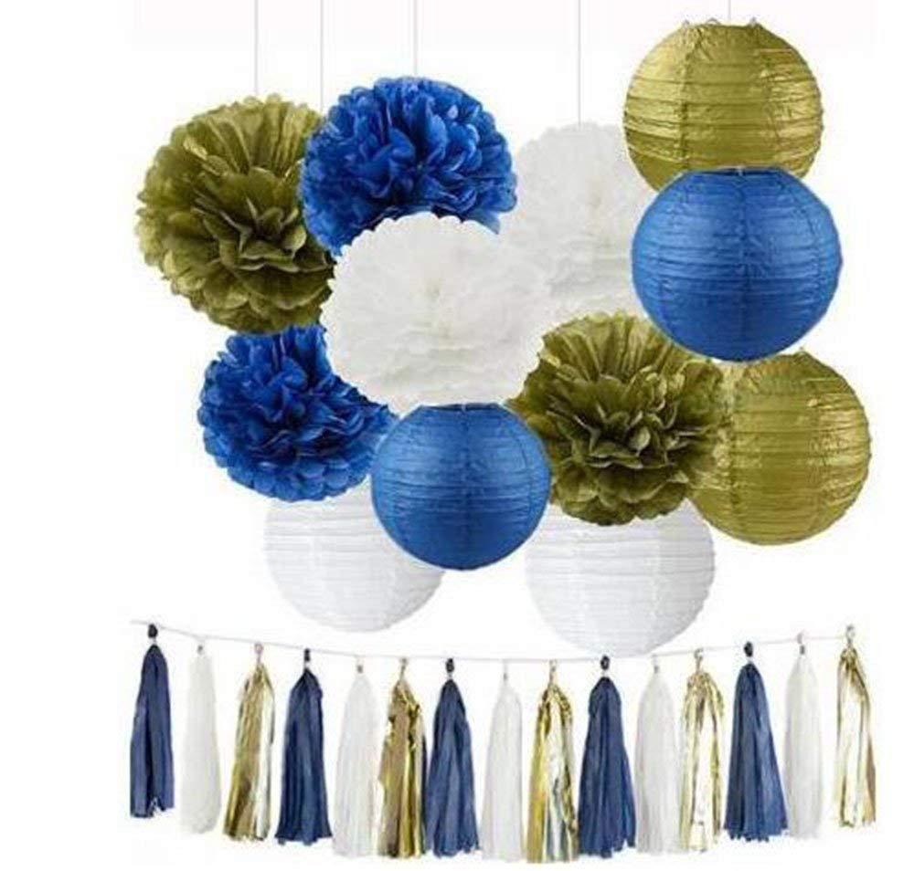 15pcs Royal Blue Gold White Mixed Tissue Pom Poms Tassel Garland Paper Lanterns Wedding Birtday Baby Shower Hanging Decoration