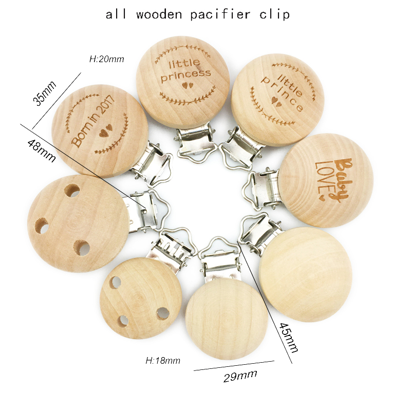 35mm Custom Design Natural Wooden Plain Round Baby Teething Wooden Pacifier Clip