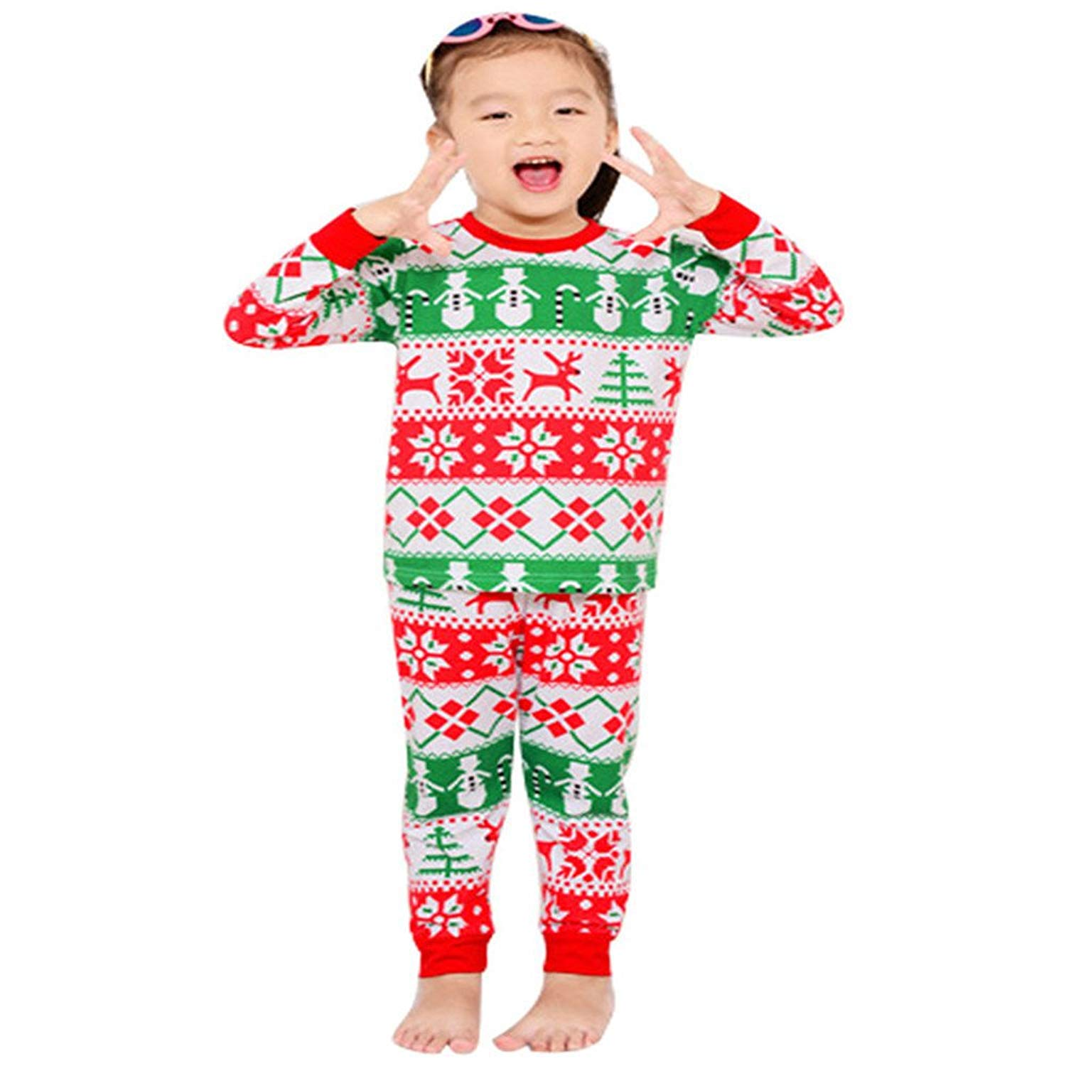 get quotations babylike little girls christmas pajamas sets 100 cotton clothes toddler kids christmas pajamas size 2t - Christmas Pajamas For Girls