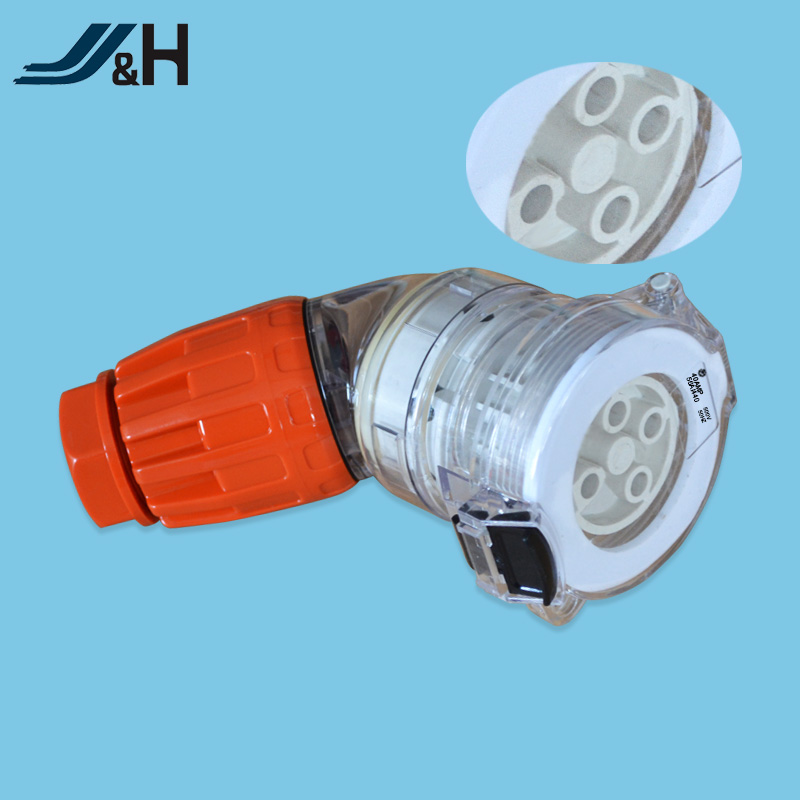 Electric angle socket 4 pin 40 amp 500V waterproof power extension socket for industrial 56ASC440