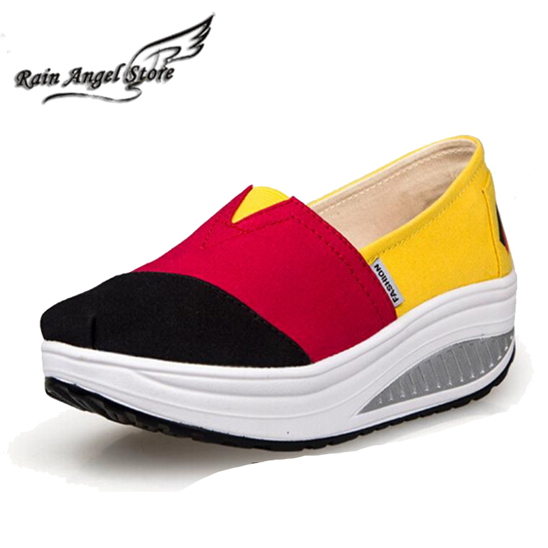 Mixed Colors Fashion Swing Shoes Canvas Shoes Women Wedge Sneakers Sports Sneaker Shoes Breathable Height Increasing Women