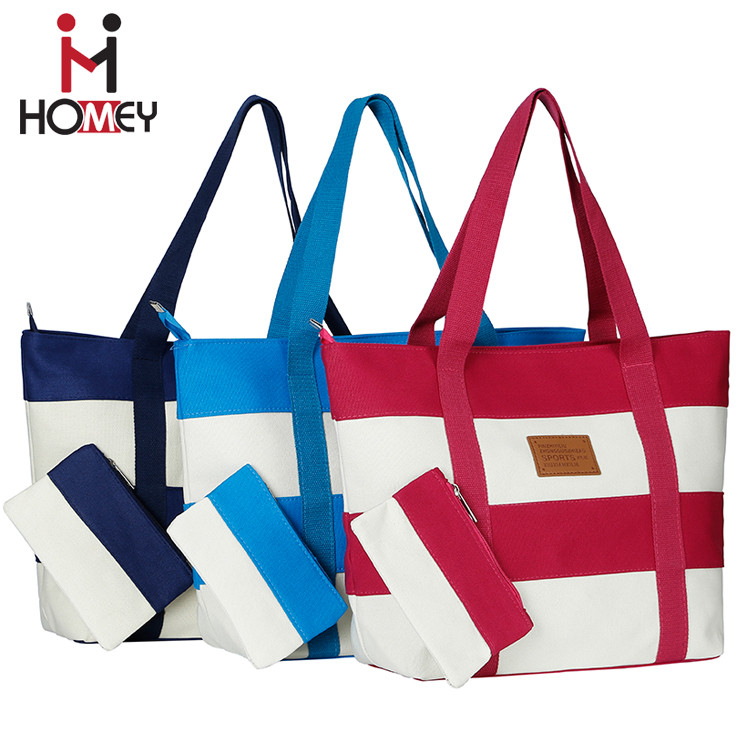 Womens Striped Canvas Tote Bag Fabric Nylon Cloth Handbags