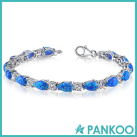 New arrival beautiful 925 sterling silver blue created opal bracelet for wedding