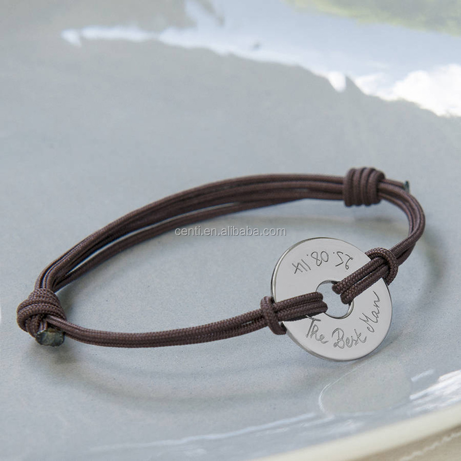 7254e94335 personalized stainless steel washer charm bracelet adjustable cord bracelet  customized stainless steel charm bracelet