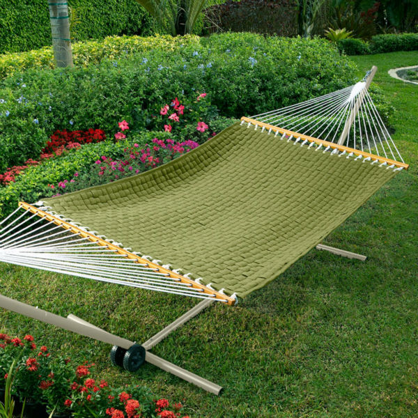 Quilted-Weave Hammock with stand