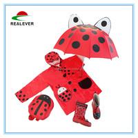 Ladybug rain shoes backpack umbrella raincoat children rain gear set
