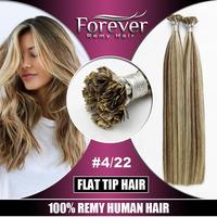 Wholesale high quality 26 inch cheap real human hair extension , flat tip hair