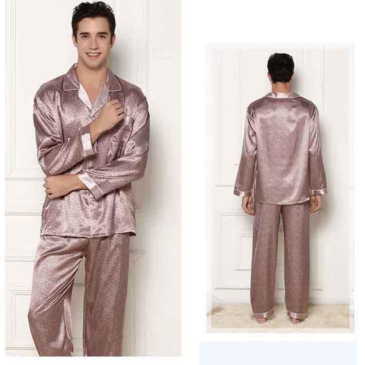 6452157c3a Get Quotations · 2015 Geometric full sleeve men pajama sets Turn-down  Collar silk satin sleepwear imitation silk