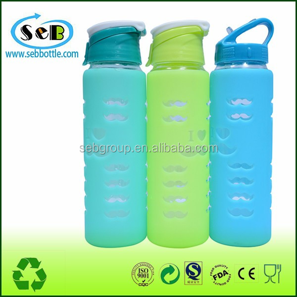 Partner America Water Bottle Fashion Portable Sports 600 ml Large Glass Water Bottle With Silicone Sleeve and Flip