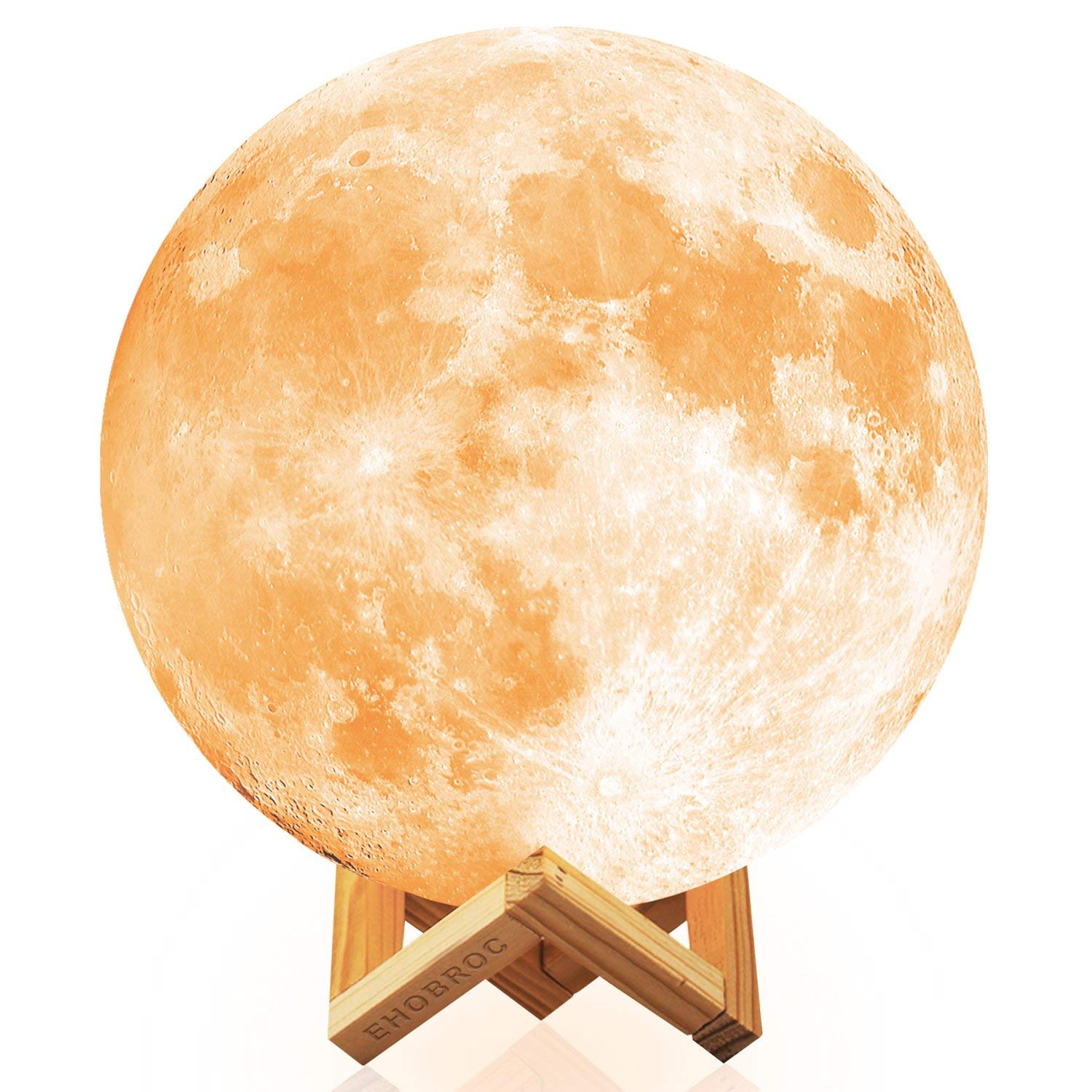 Moon Light, Ehobroc 7.1 inch Glowing Moon Globe Light, 3D Glowing Moon Lamp With Stand, Luna Moon Lamp with 2 Colors(Warm White&Yellow), Moon Night Light for Home Decor, Bedroom, Children Gifts