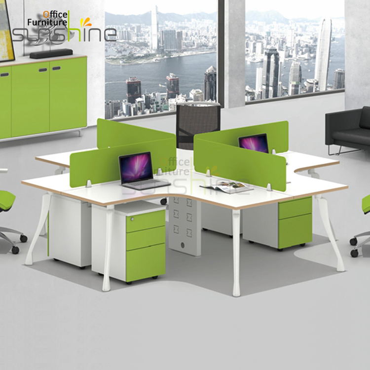 Office Table For 4 Person: Office Workstation Cubicle 4 Seat Modular Office Desk