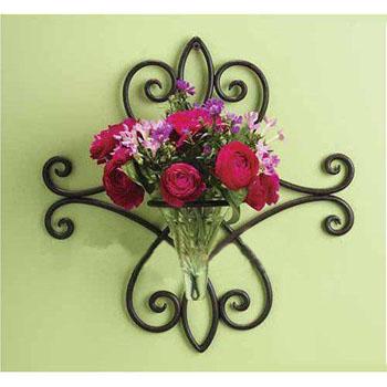 Handicraft Painted Metal Hanging Flower Pot Wrought Iron Wall Decor ...