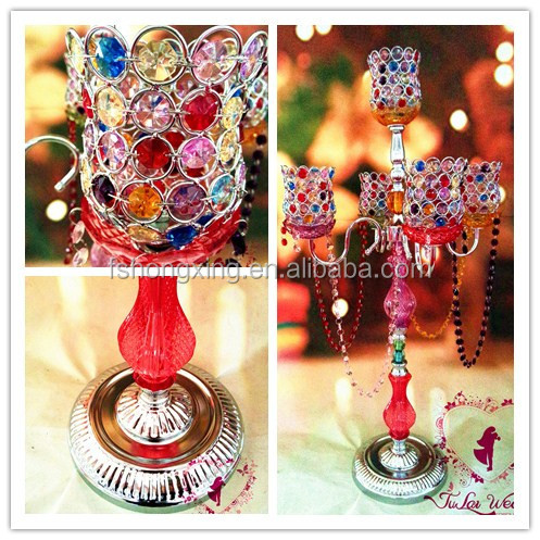 colorful bead 5 arms candelabra wedding table centre pieces for wedding decoration