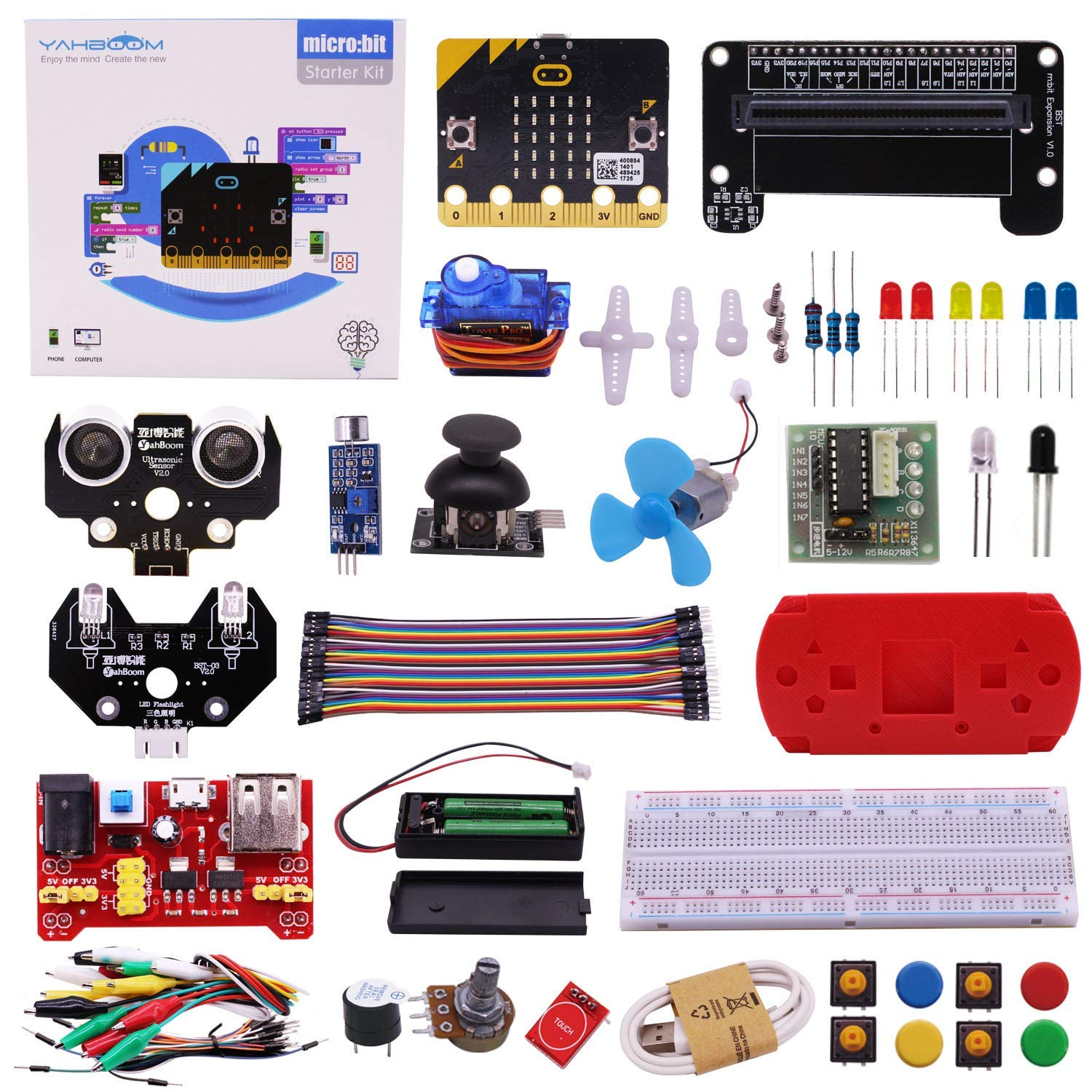 Yahboom Micro:bit Kit Starter Learning Kit with BBC Micro bit Board Graphical Programmable STEM Toys for Kids with Guidance Manual