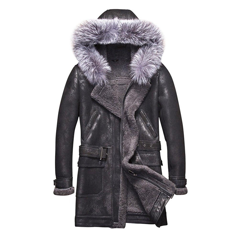 93bf11271a92 Denny&Dora Raccoon Fur Hooded Mens Shearling Coat Mens Fur Coat Long  Military Style Sheepskin Leather Jacket