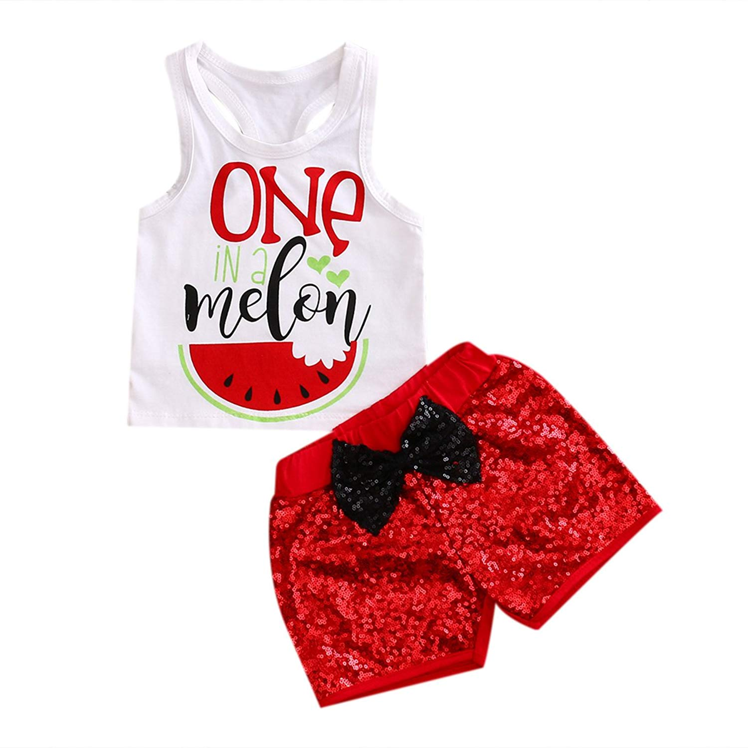 Imcute Baby Girl Clothes Sleeveless Watermelon Top Tshirt+Red Bow Sequins Short 2 Pcs