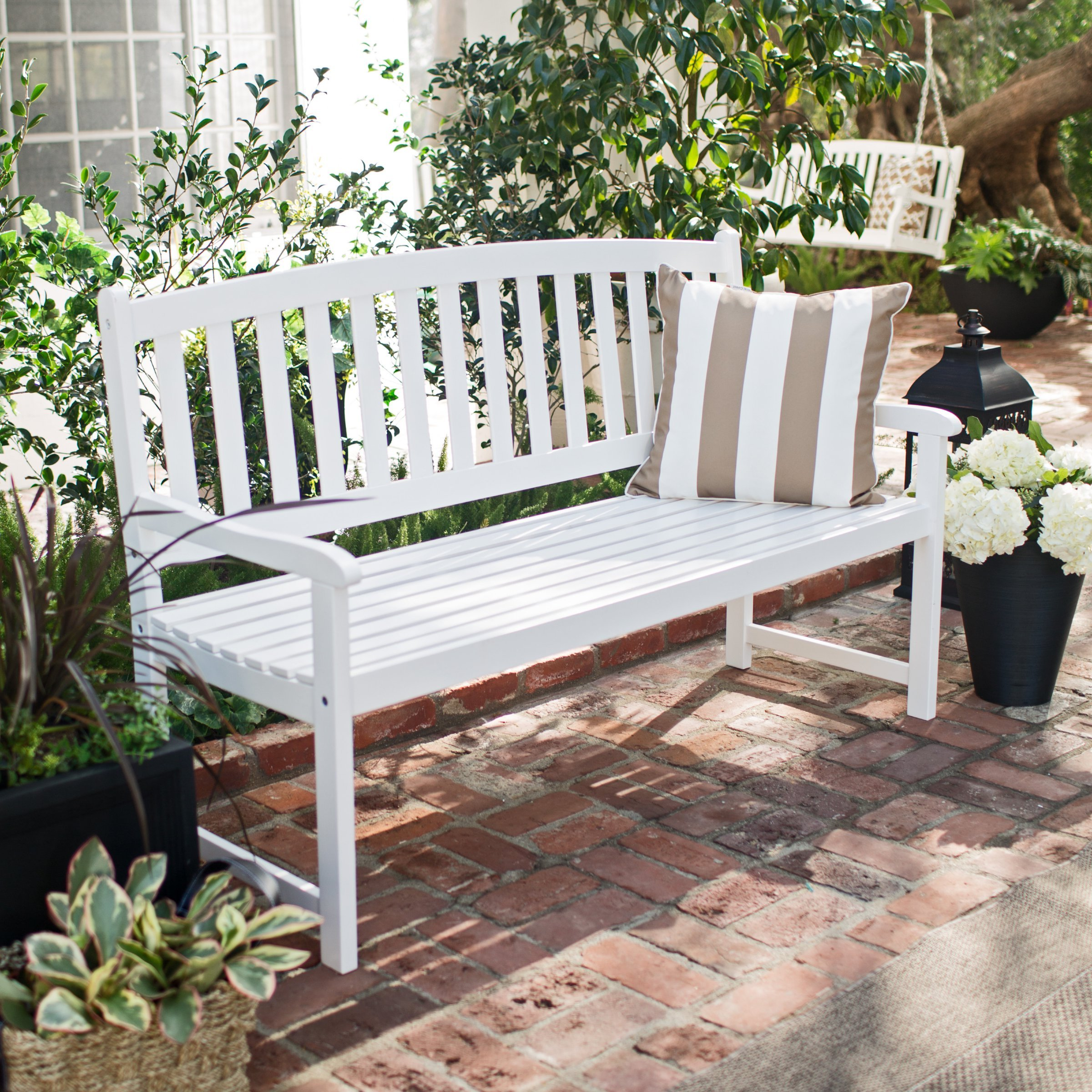 Curved Slat Back Outdoor Wood Bench