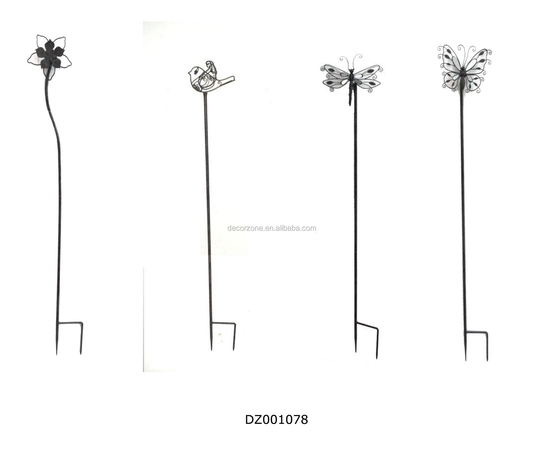 Metal Decorative Flowerbirddragonflybutterfly Garden Stakes
